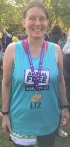 Supporter Liz Begg at half marathon race