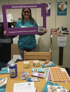 Liz Begg holding an awareness stall at local library
