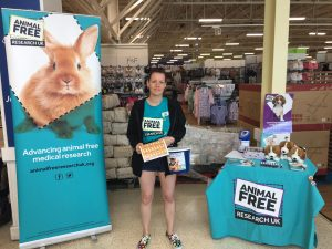 Volunteer fundraising at a supermarket collection