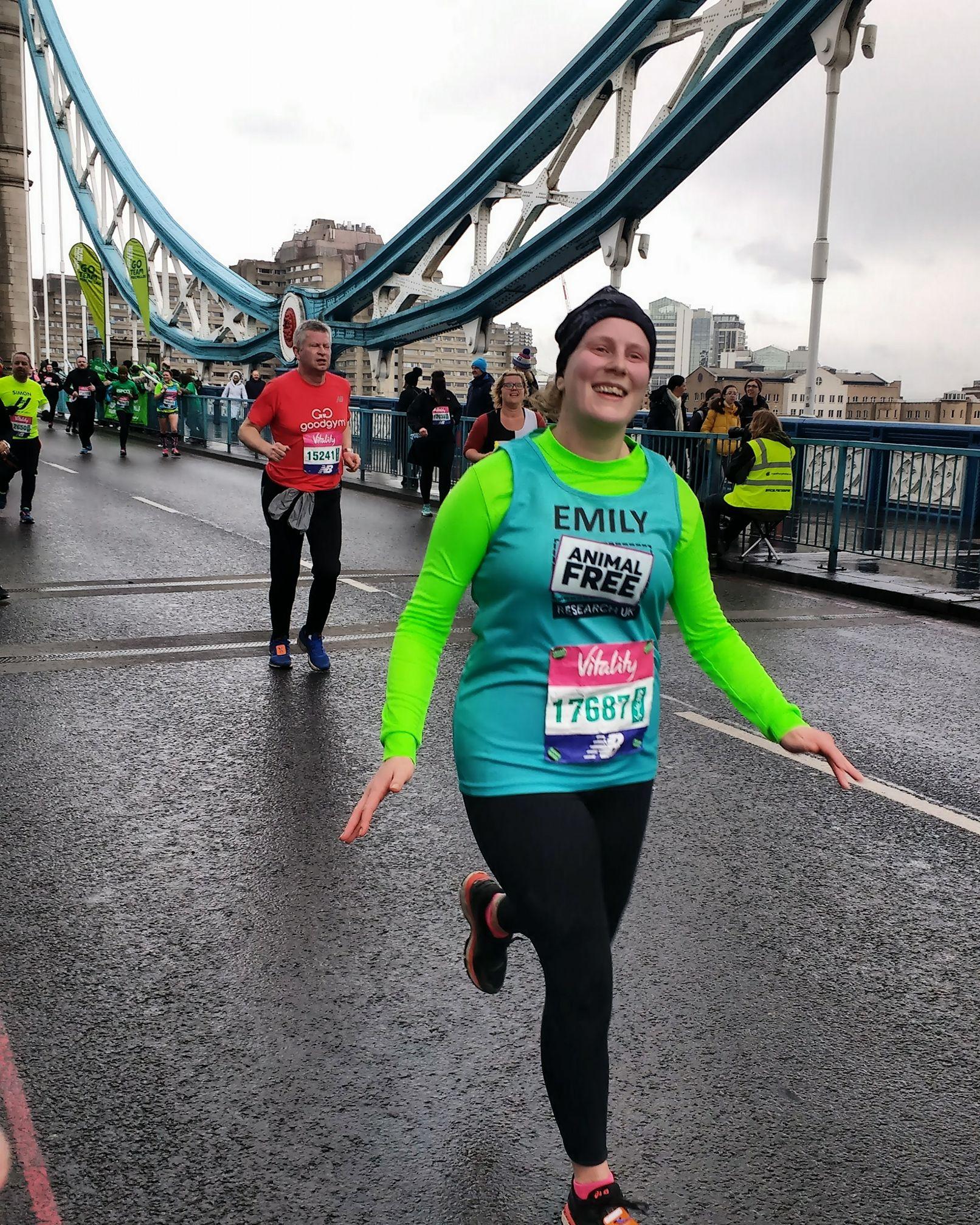 A woman running the Big Half